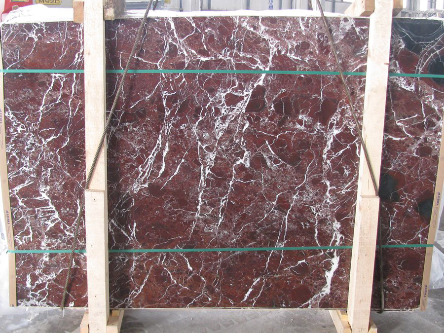 Rosso Levanto Red Marble Stone Slabs for Bathroom Vanity Tops