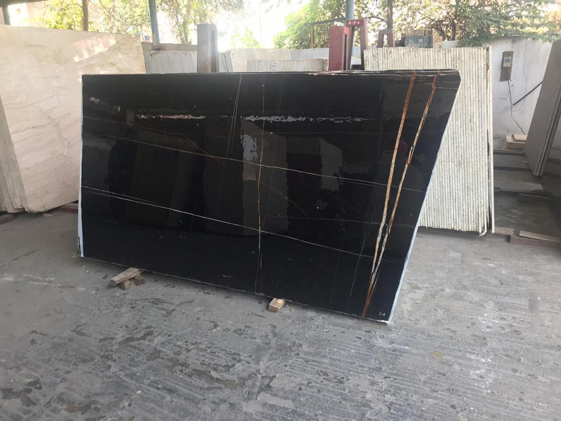 Royal Nero Marquina Slabs Black Polished Marble Slabs