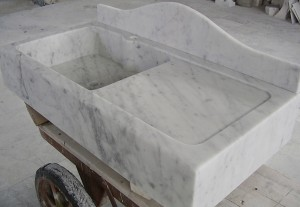 SINK WITH TABLE PLAN IN CARRARA MARBLE