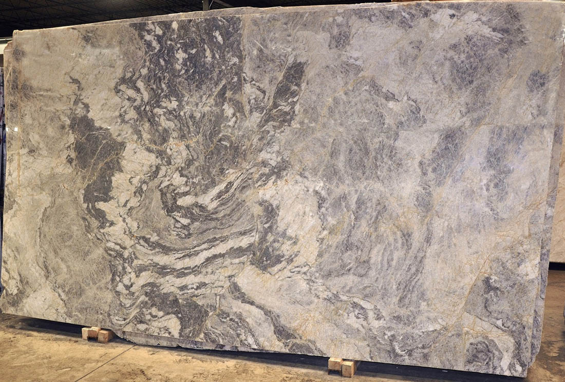 Sapphire Pearl 3cm Polished Grey Quartzite Stone Slabs for Countertops