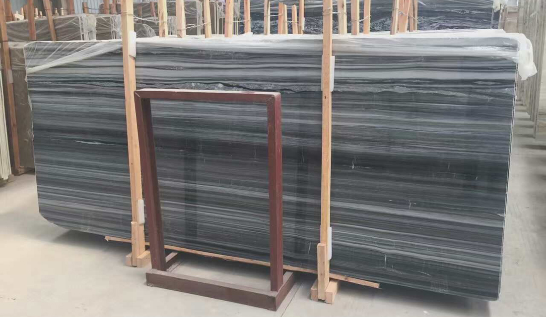 Serpeggiante Black Slabs Polished Marble Stone Slabs