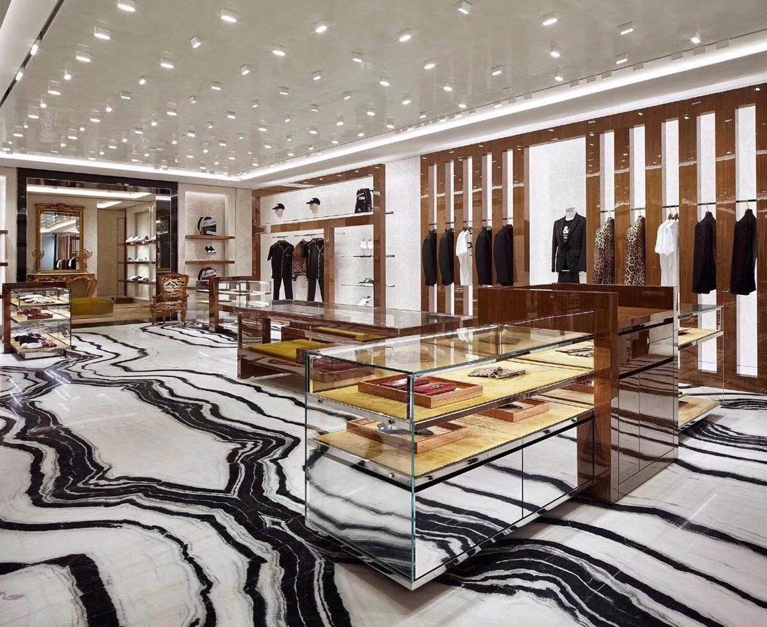 Shopping Mall Project Panda White Marble Floor Application Marble Tiles