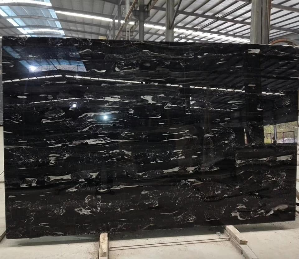 Silver Dragon Marble Slab Top Quality Black Polished Slabs