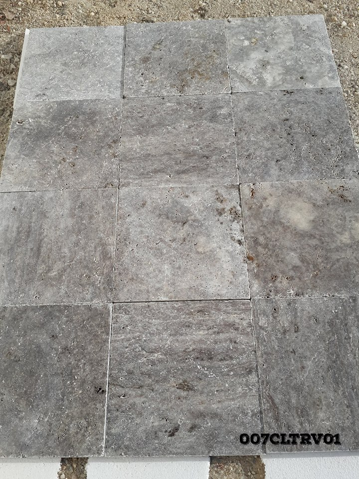 Silver Shadow Travertine Grey Tumbled Travertine Tiles