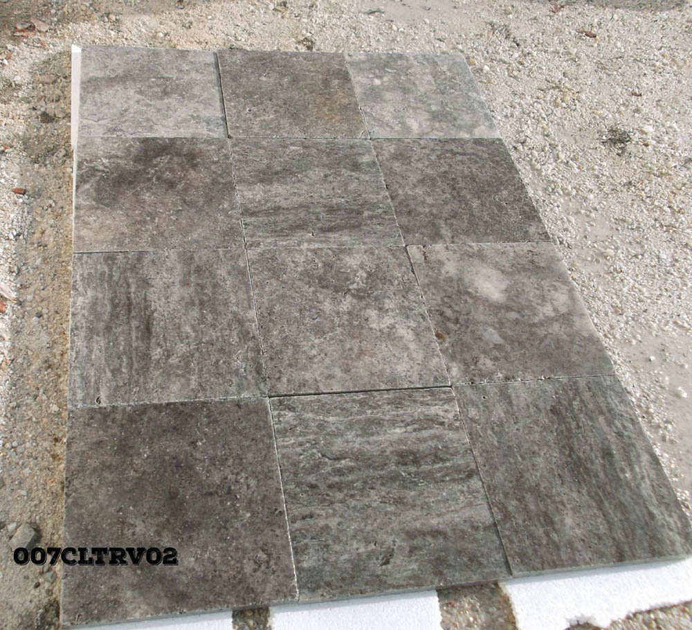 Silver Shadow Travertine Tiles Grey Tumbled Travertine Tiles