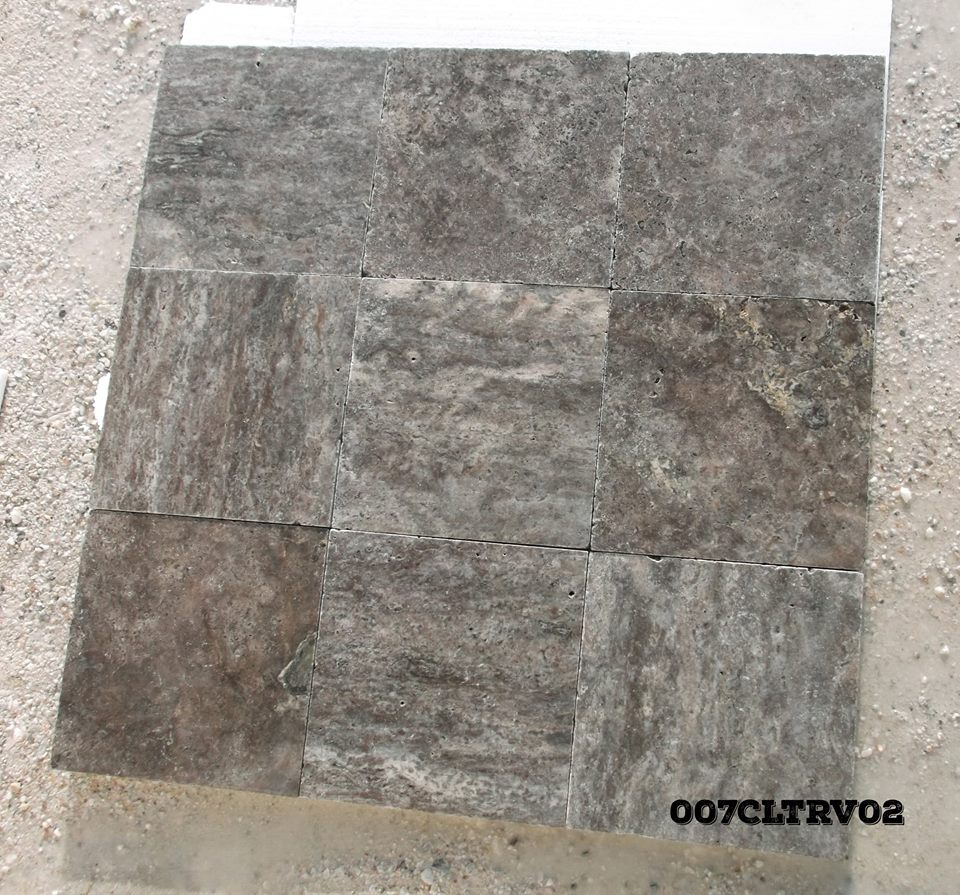 Silver Shadow Travertine Tiles Grey Tumbled