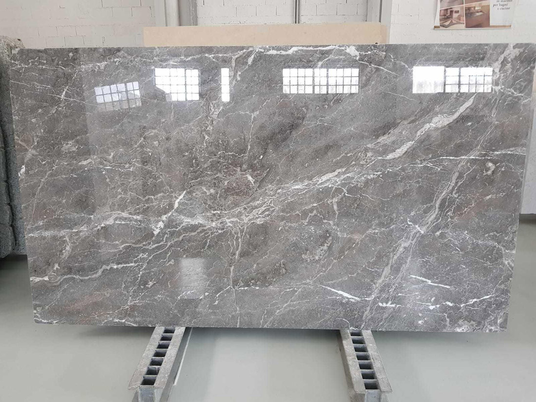 Silver Storm Grey Polished Marble Slabs