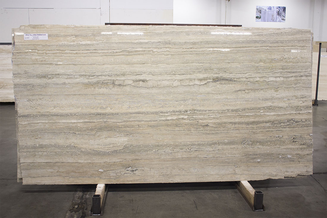 Silver Travertine Polished Slabs 2cm