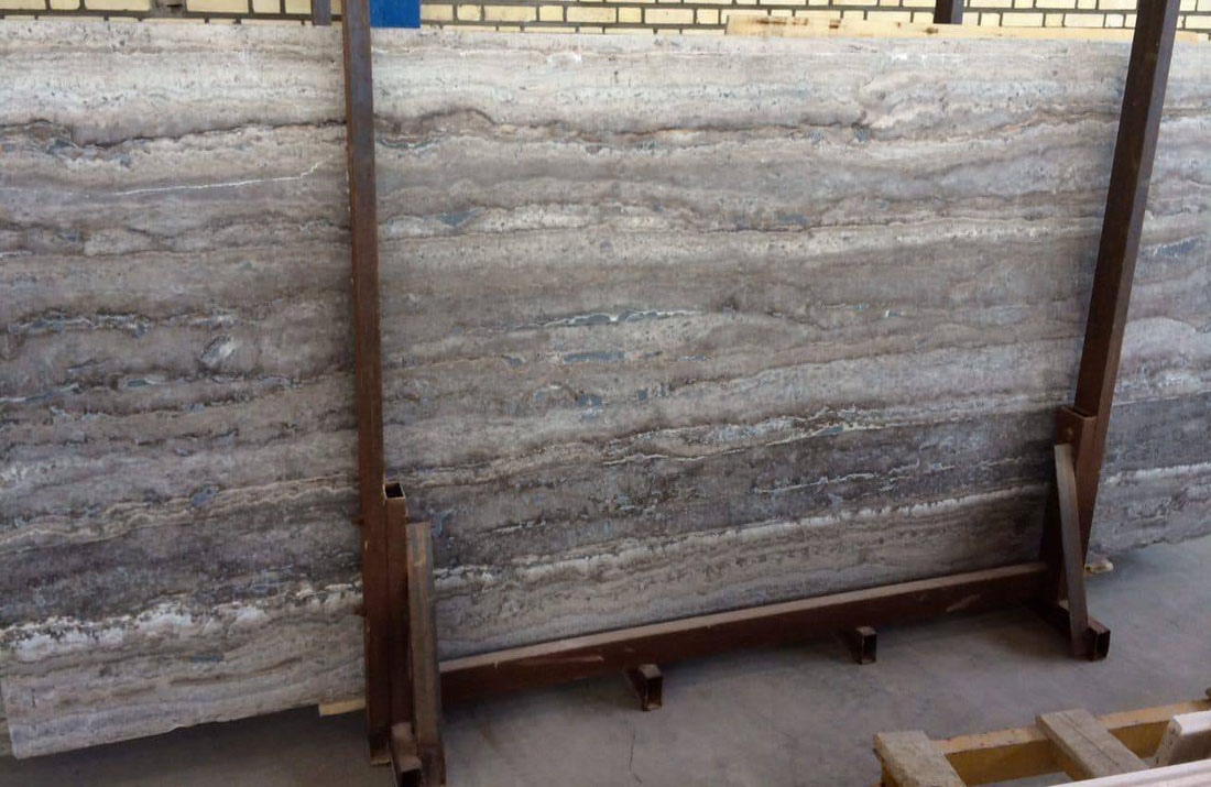 Silver Travertine Slab Polished