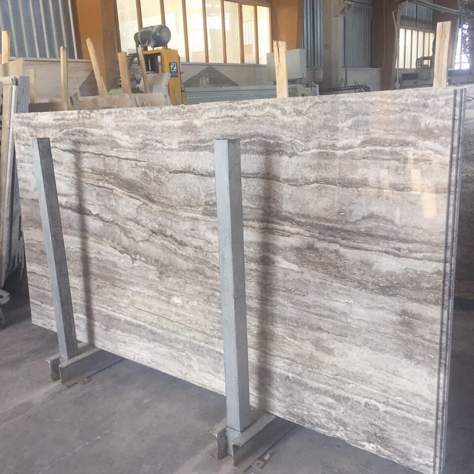 Silver Travertine Slabs Turkish Travertine Polished Slab