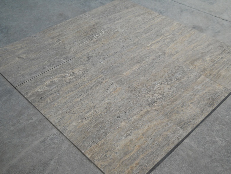 Silver Travertine Veincut Filled & Honed Grey Travertine Tiles