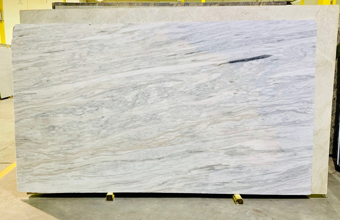 Silver Wind White Marble Slabs Polished Greek Marble Slabs