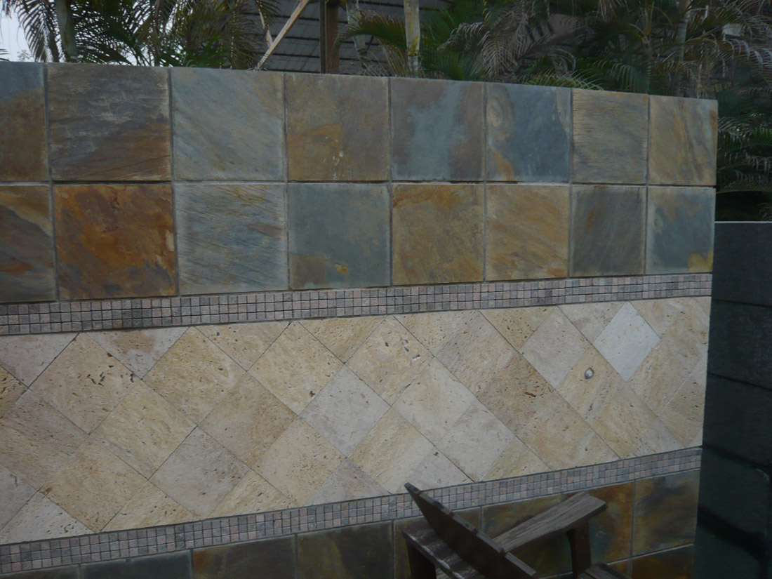 Slate and Travertine Wall Stones