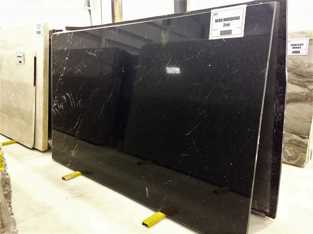 Spain Nero Marquina Polished Black Marble Slabs