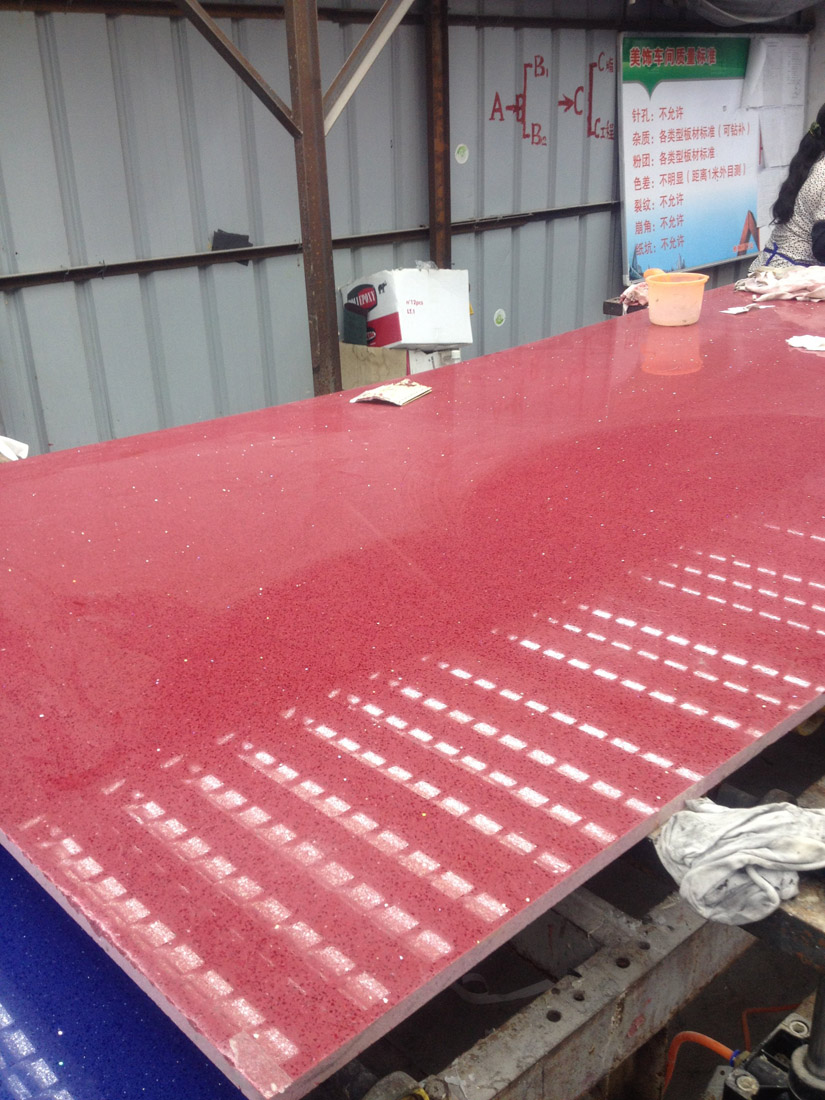 Sparking Red Artificial Quartz Stone Slabs