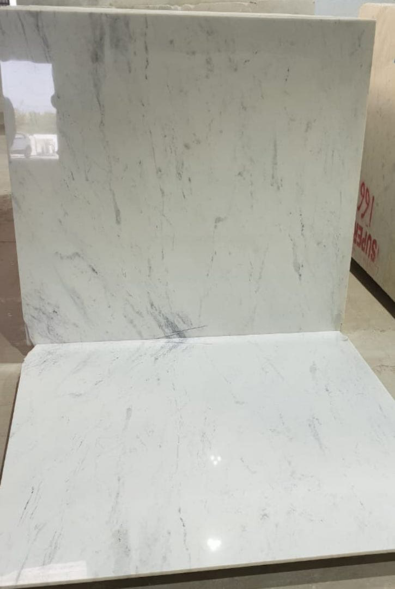 Splash White Marble Polished White Indian Marble Tiles