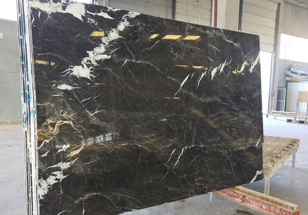 St Laurent Slab Polished Black Marble Stone Slabs