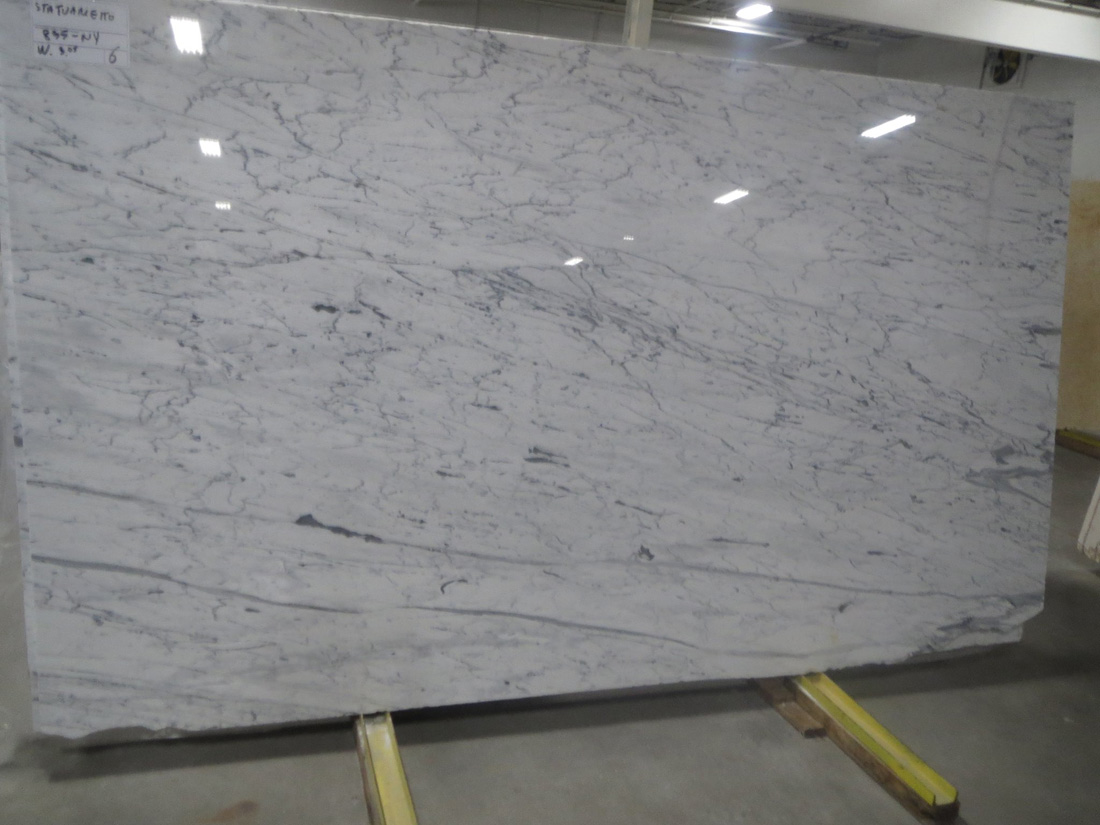 Statuario Marble Polished Slab White Marble Slabs from Italy
