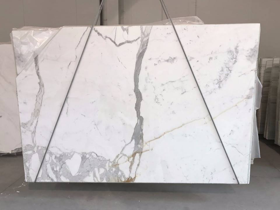 Statuario Polished White Marble Slabs