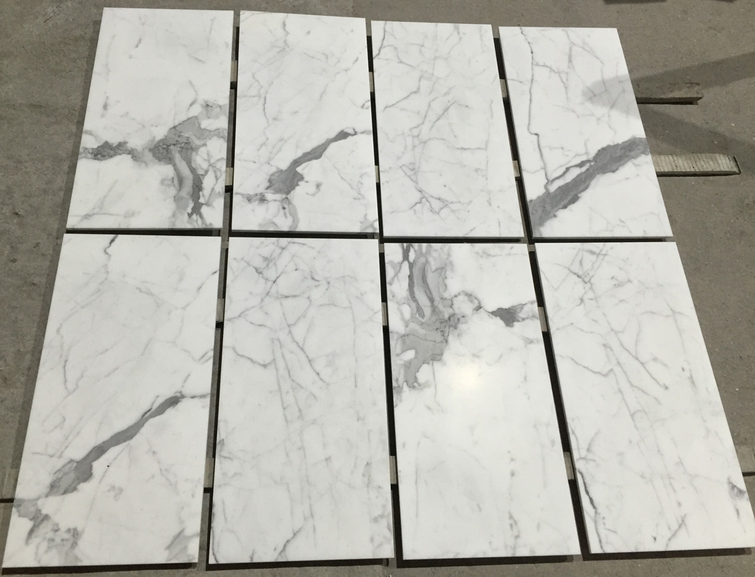 Statuario Polished White Marble Stone Flooring Tiles