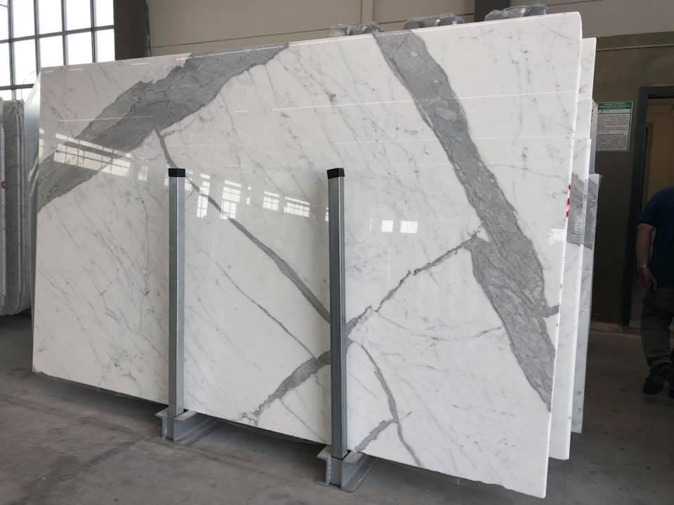 Statuario White Polished Marble Slabs