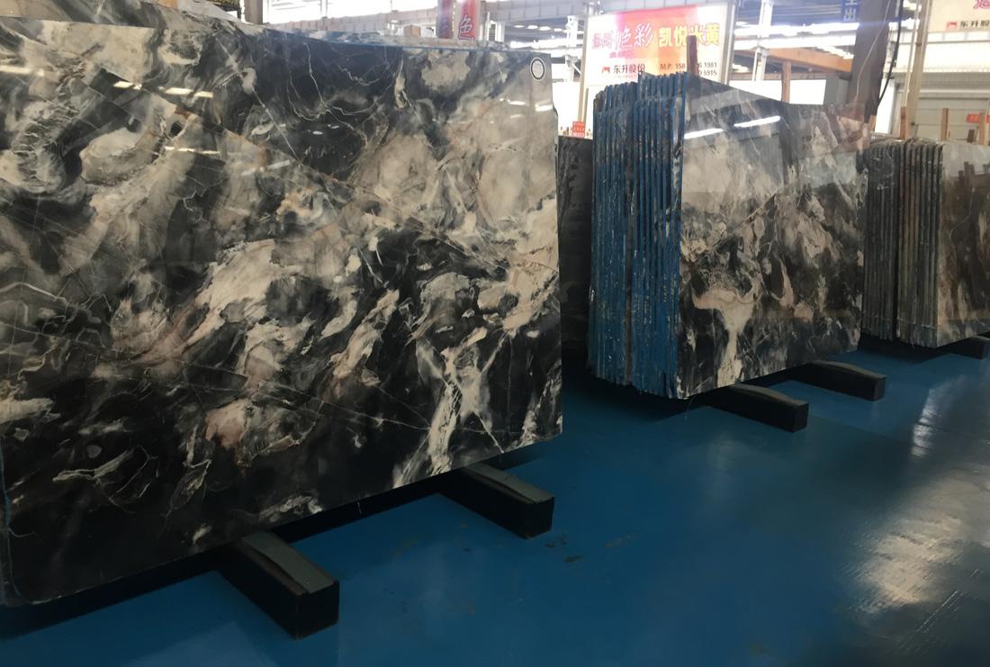 Sunny Gray Back Fantasy Jungle Black Marble Slabs