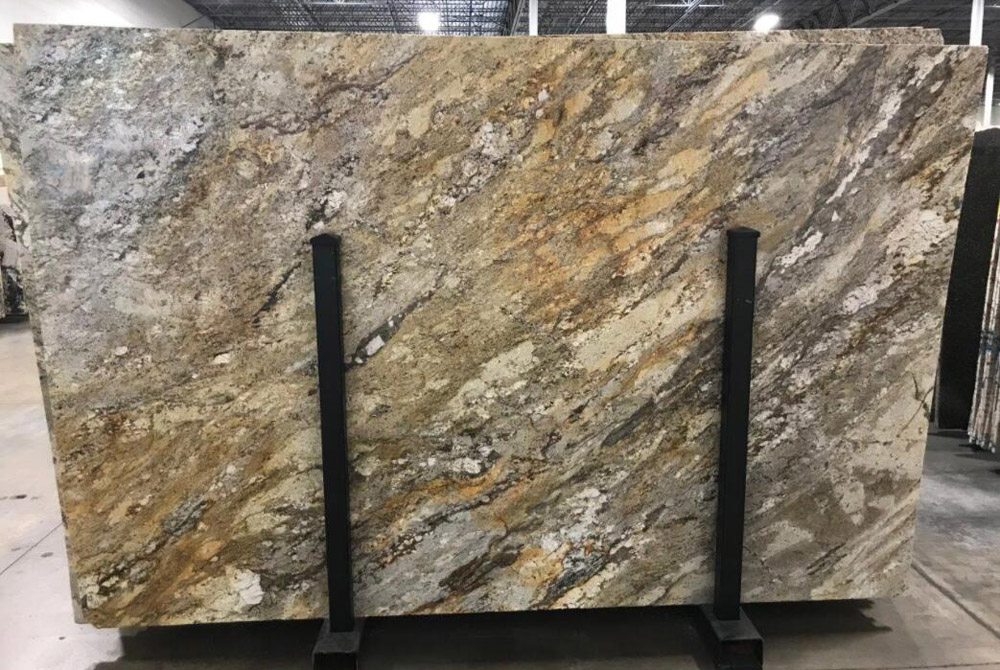 Taupe Gold Granite Slabs Polished Yellow Granite Stone Slabs