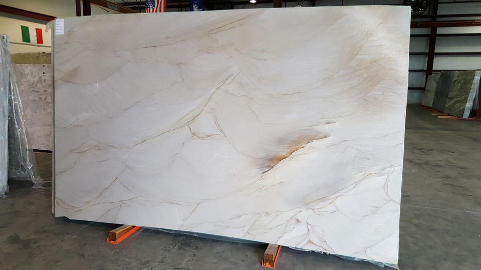 Taupe Wave Quartzite White Polished Slabs for Countertops