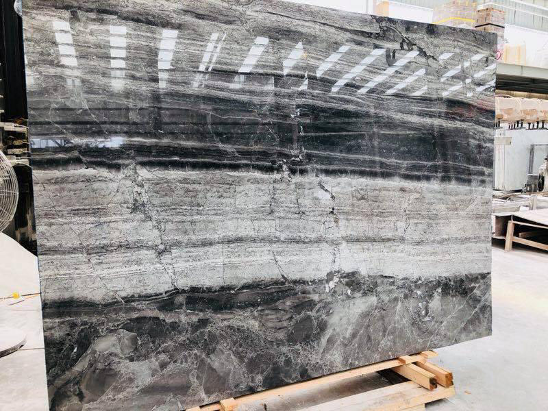 Titanium Grey Polished Travertine Slabs