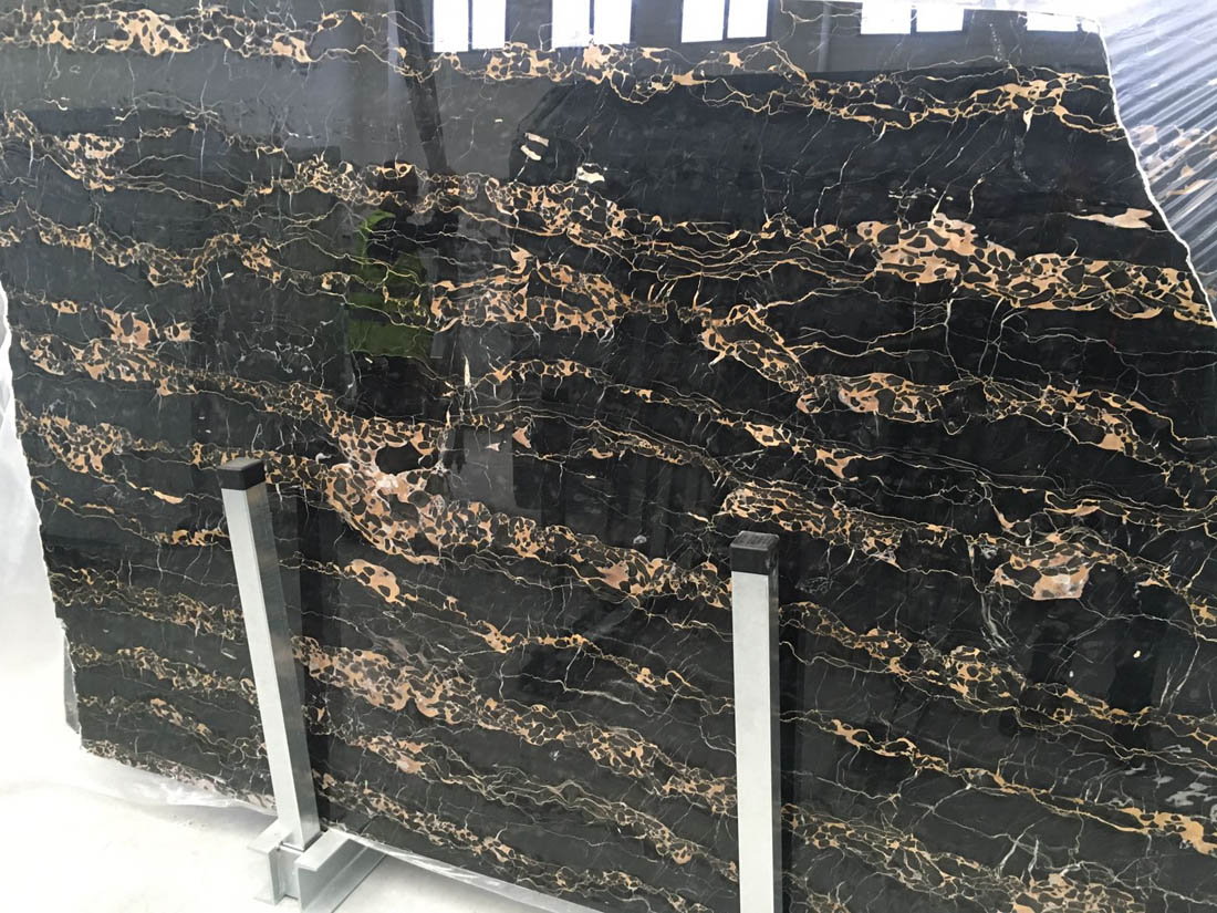 Top Quality Black Marble Slabs Polished Portoro Extra Slabs