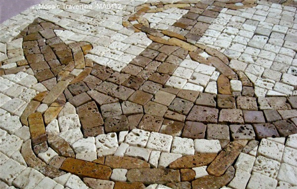 Travertine Anchor Mosaic Medallion