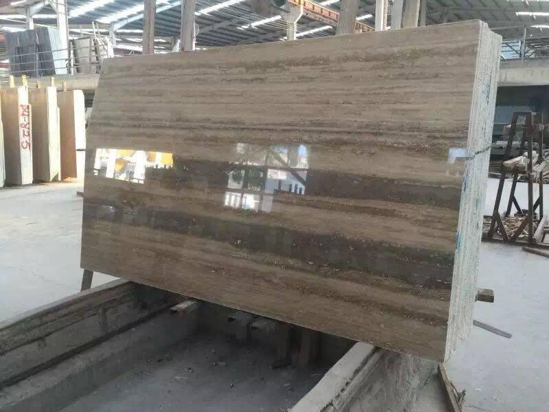 Travertino Ocean Brown Polished Stone Brown Slabs