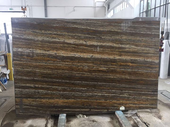 Travertino Silver Dorato Brown Travertine Slabs
