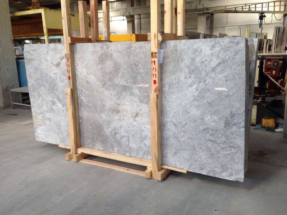 Tundra Light Polished Slab Turkish Grey Marble Slabs