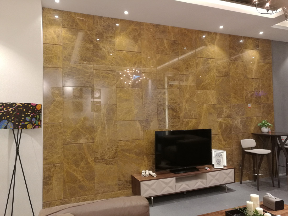 Turkey Crystal Light Emperador Marble TV Black Wall Tiles