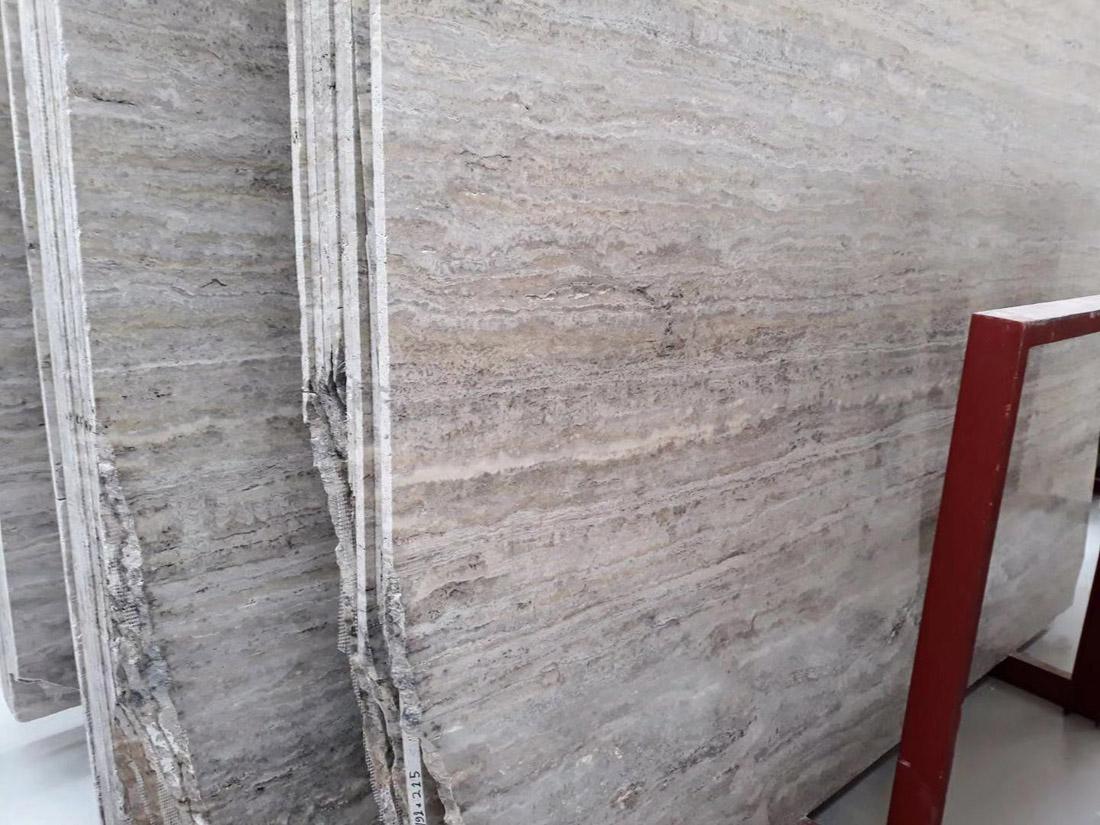 Turkey Silver Travertine Stone Slabs Polished Grey Stone Slabs