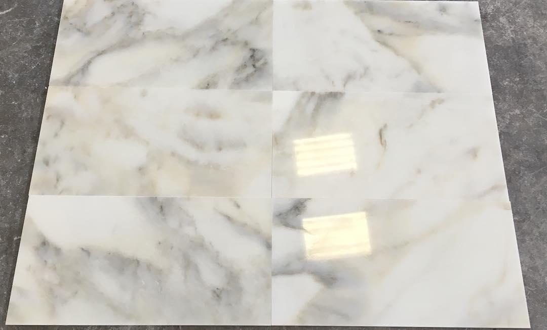 Turkish Calacatta Verde Tiles Polished White Marble Tiles