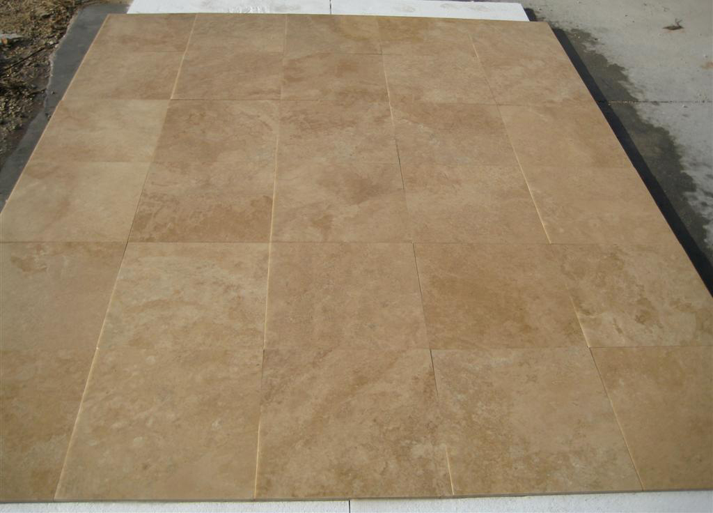 Turkish Light Walnut Filled & Honed Travertine Tiles
