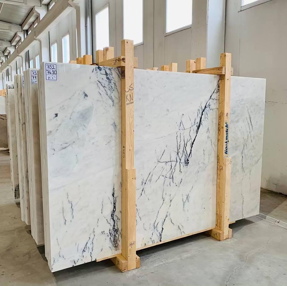 Turkish Lilac White Marble Slab Polished White Stone Slabs