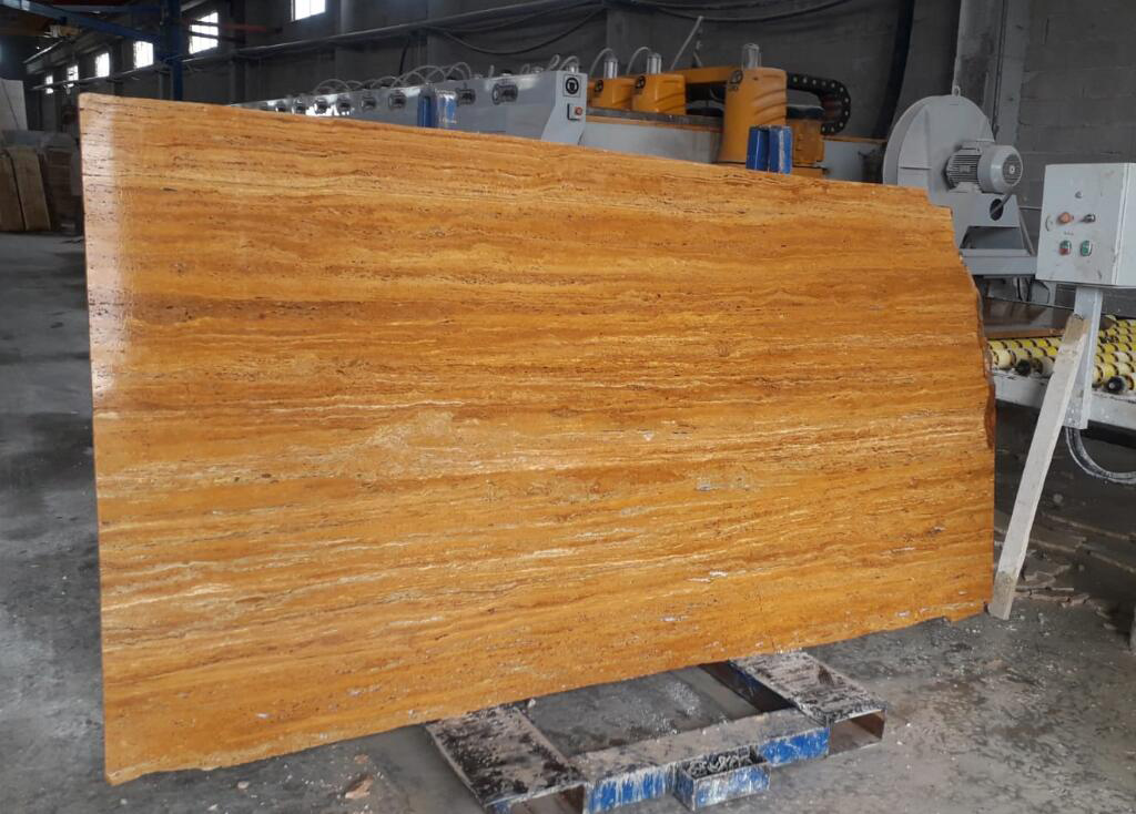 Turkish Yellow Travertine Slabs Polished Travertine Stone Slabs
