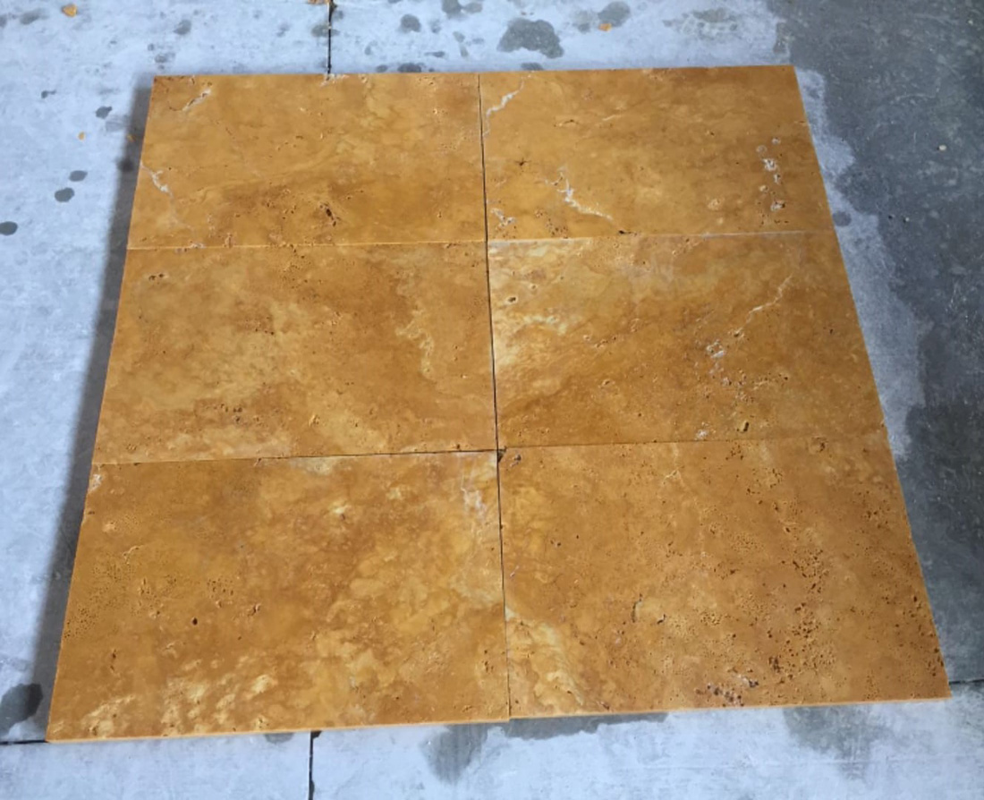 Turkish Yellow Travertine Tiles Natural Travertine Stone Flooring Tiles