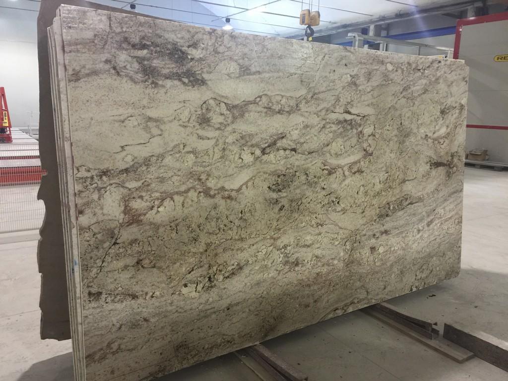 Typhoon Bordeaux White Granite Slabs