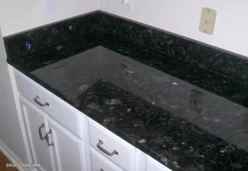 Ukrain Galactic Blue Volga Blue Granite Countertops with Cabinets