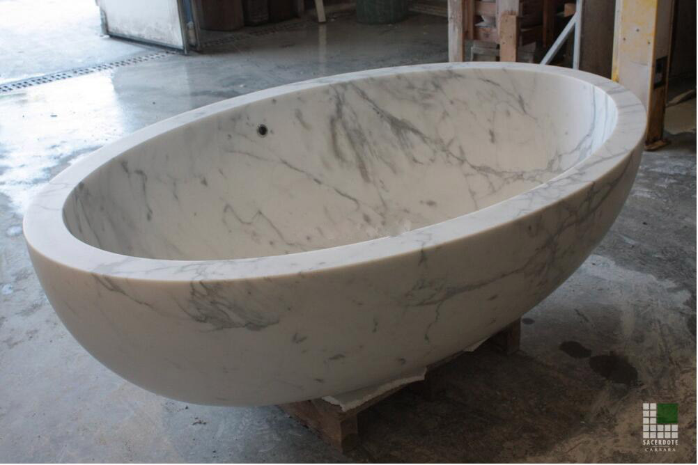 Vasca in marmo Bianco Statuario con troppopieno