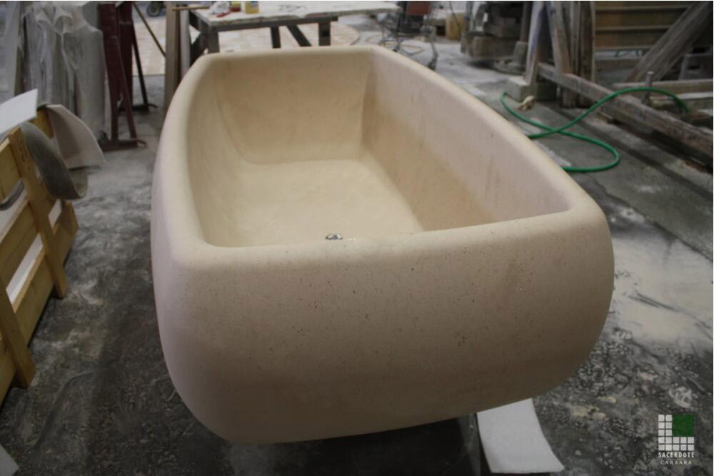 Vasca in pietra Moka Cream Marble Bathtub
