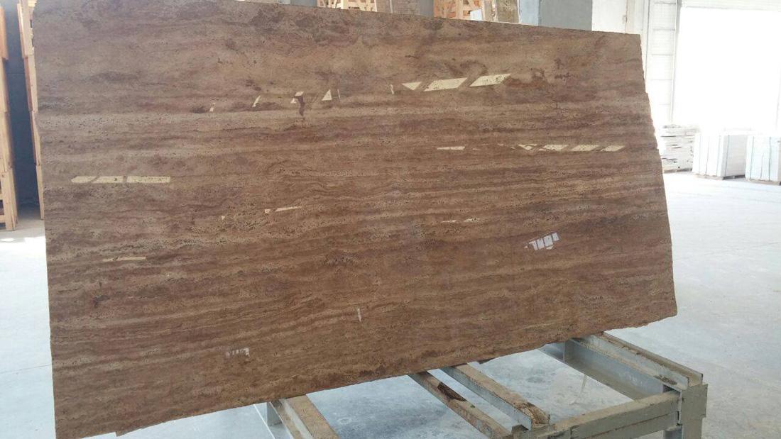 Veincut Wallnut Travertine Turkish Brown Polished Travertine Slabs