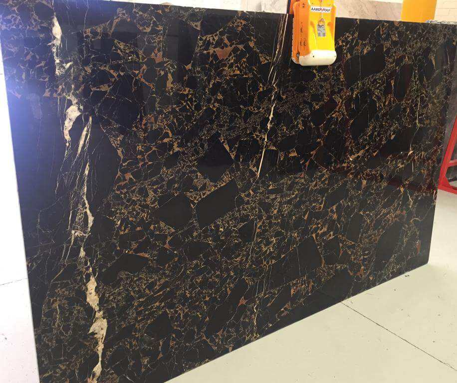 Versace Gold Marble Slabs Polished Black Marble Slabs