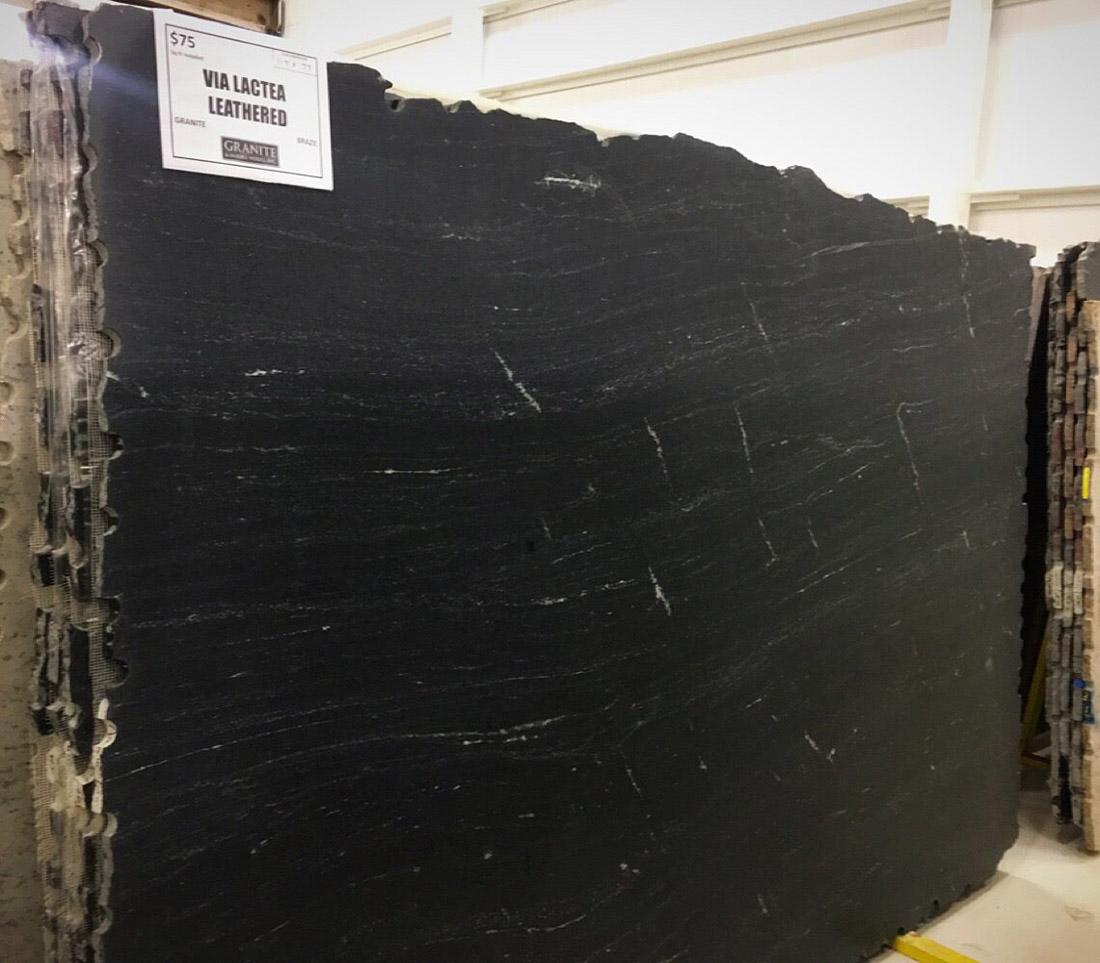 Via Lactea Leathered Full Slab Brazilian Black Granite Slabs