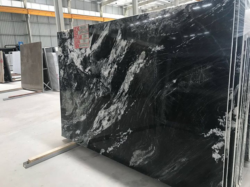 Vintage Black Granite Polished Black Granite Slabs