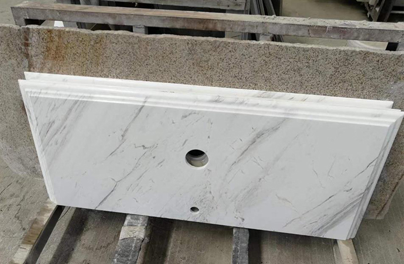 Volakas White Marble Polished Marble Bathroom Vanity Tops